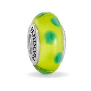 Pandora Murano Glass Bead Green Lime Polka Dot